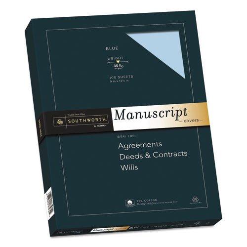 25% Cotton Manuscript Covers, Blue, 30lb, Wove, 9 x 12 1/2, 100 - 25% Credentials Cotton