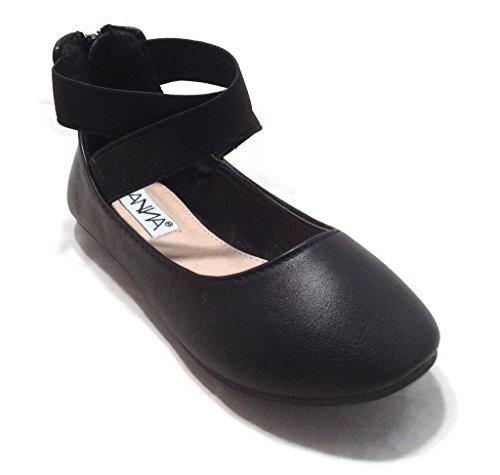 Anna Girl Kids Dress Ballet Flat Elastic Ankle Strap Ballerina Shoes Black (Flats For Girls)