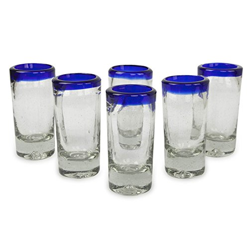 novica artisan crafted hand blown clear blue rim recycled glass shot glasses 2 oz bluesu0027 set of 6