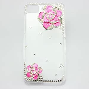piaopiao bling 3D clear case hot pink flower diamond rhinestone crystal hard cover for blackberry Z10