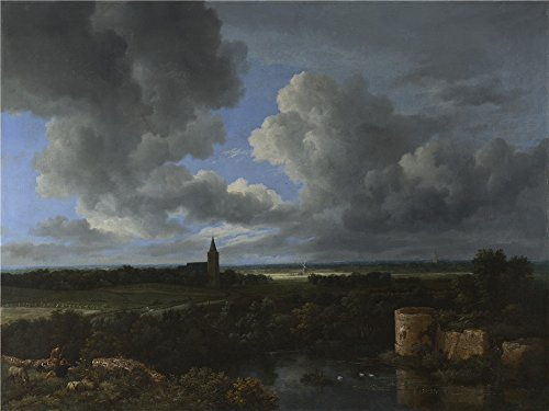 (The Perfect Effect Canvas Of Oil Painting 'Jacob Van Ruisdael A Landscape With A Ruined Castle And A Church ' ,size: 30 X 40 Inch / 76 X 102 Cm ,this Beautiful Art Decorative Canvas Prints Is Fit For Garage Artwork And Home Artwork And Gifts)