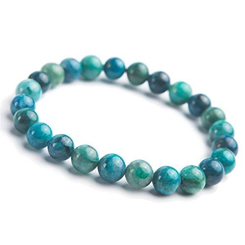LiZiFang 8mm Natural Green Malachite Chrysocolla Gemstone Round Beads Woman Bracelet AAAA