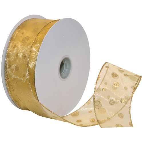 Morex Ribbon Glitter Dots Wired Sheer Glitter Ribbon, 2-1/2-Inch by 50-Yard Spool, Gold