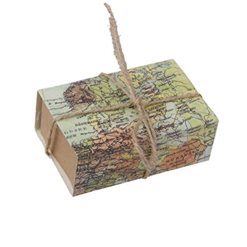 NUOLUX Candy Gift Boxes 50Pcs Craft Paper Case for Wedding Favors World Map Drawers Design
