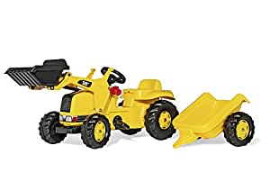 rolly toys CAT Construction Pedal Tractor: Front Loader Tractor with Detachable Trailer, Youth Ages 2.5+