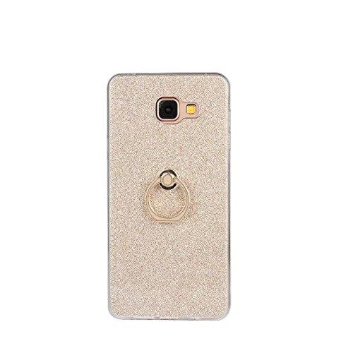 Luxus-Bling-Schein-Art-Fall, weiches TPU [Silikon] Flexible Glitter-rückseitige Abdeckung mit Fingerring-Standplatz [Anti-Kratzer] [Shockproof] für Samsung-Galaxie A710 (A7 2016) ( Color : White ) Gold