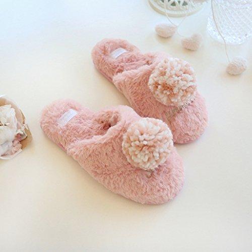 Pelote Dames Jds De Maison Confortable Avec Velours Fortuning's Pompon Pantoufles Chaussures Agréable Laine Rose Femmes qPTwxnE