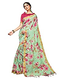 Elina fashion Sarees for Women Linen Silk Digital Print with Silk Boarder Saree l Gift Sari with Unstitched Blouse
