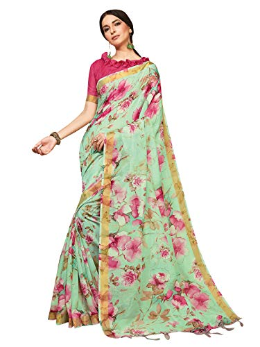 Print Saree - Sarees for Women Linen Silk Digital Print with Silk Boarder Saree l Indian Ethnic Wedding Gift Sari with Unstitched Blouse Sea Green