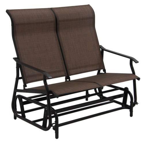 Double Garden Glider (oldzon 2 Person Loveseat Glider Rocking Bench Patio Double Armchair Garden Tan with Ebook)