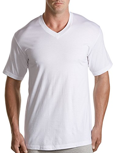 Harbor Bay by DXL Big and Tall 3-pk. V-Neck T-Shirts, White 4X Tall (Big And Tall Mens Clothing V Neck)