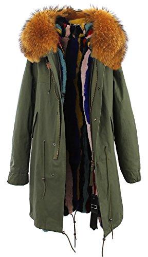 piel mujer Verde del capucha S ejército de invierno Tan mapache con Forro abrigo conejo pelaje Cuello extraíble de ROMZA extraíble y de de Uqq5Z