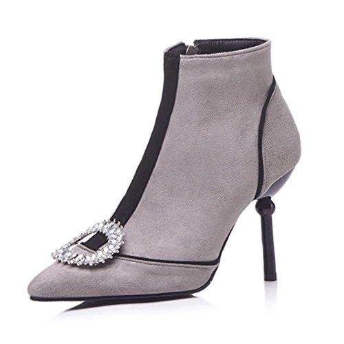 5c8013b5d416 Women s Boots Fashion Boots Autumn and Winter Women s Shoes Shoes Shoes  Rhinestones Large Size Short Boots Suede High Heel... B07G4DF92B Parent  b16945