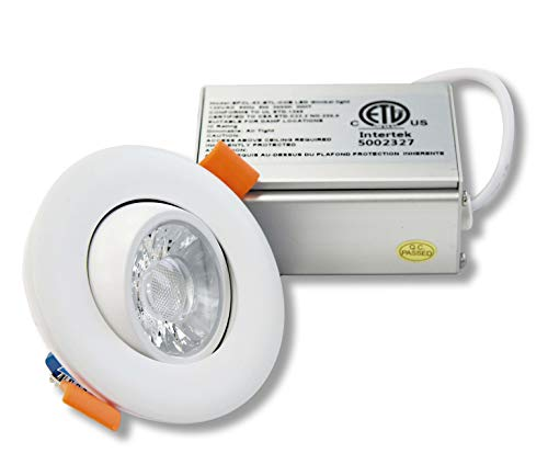 LED FANTASY 3-Inch Gimbal Adjustable LED Recessed Light with Junction Box, 8W 75W Equivalent Dimmable Downlight 650 Lumens Rotatable, ETL & Energy Star Listed IC Rated (5000k Daylight, 1 Pack)
