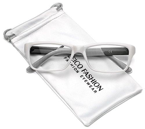 Clear Lens Rectangular Glasses (S-M Size) (White, - Glasses Hipster White