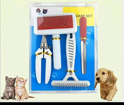 ORSHIS Grooming Pet Set 4 in 1 Professional Pet Grooming Kit,Grooming Tools Cats Dogs Nail Clippers Professional (Comb 1 4in Grooming)