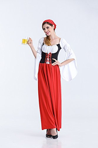 JCH German Oktoberfest Costume Skirt Maid Costume Female Pirate Costume Halloween Beer Clothing for Women (Size : L)]()
