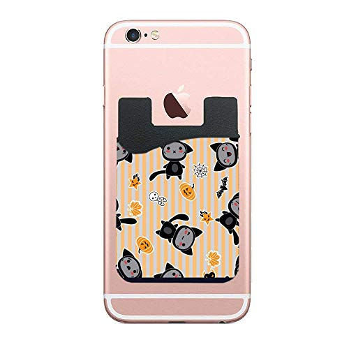 Phone Wallet, Stick on Cell Phone Case Credit Card Pocket Money Wallet Compatible for Smartphones, iPhone, Samsung, Galaxy Halloween Cartoon -