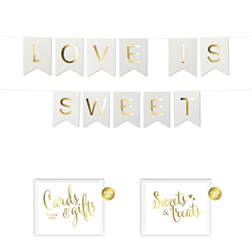 Andaz Press Shiny Gold Foil Paper Pennant Hanging Dessert Table Banner with Gold Party Signs, Love is Sweet White, Pre-Strung, No Assembly Required, ()