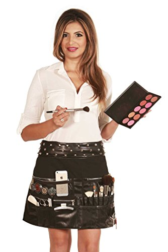 Ladybird Line Professional Cosmetic Rocker Makeup Artist Apron Brush Tools Faux Leather Trim Belt with Metal Studs Water Resistant - Rockers Studded Belt