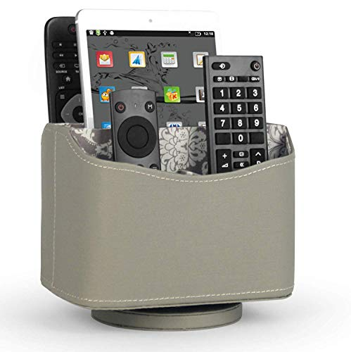 (Media Storage PU Leather Spinning Remote Control Holder Organizer, Remote Caddy, Remote Controller Holder with Soft Fabric Lining, Grey, 7.3X 5.5 x 6 inches)