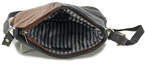 2074a85e835e4 ... Kleine Damen Handtasche Leder Umhängetasche Crossover Bag italienisch  schwarz mit cognac braun (24x24x8 cm)