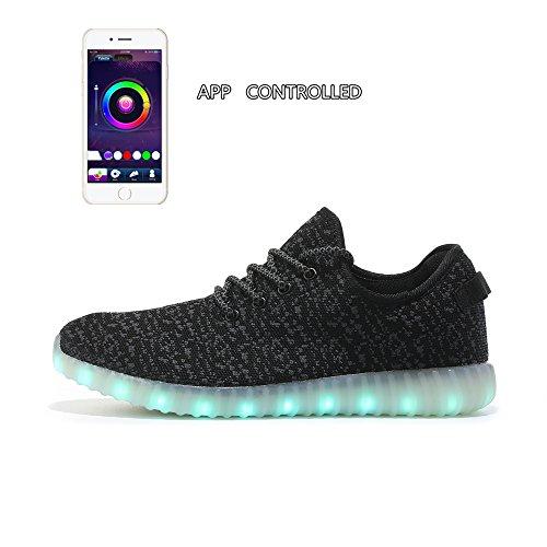 MingMai Womens'and Men' App Controlled Luminous Flashing Sneakers,Black Knit Fabric W US12