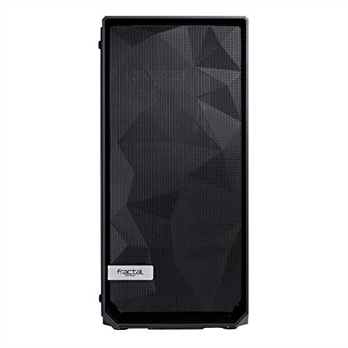 Fractal Design Meshify C - Compact Computer Case - High Performance Airflow/Cooling - 2X Fans Included - PSU Shroud - Modular Interior - Water-Cooling Ready - USB3.0 - Tempered Glass Light - Blackout