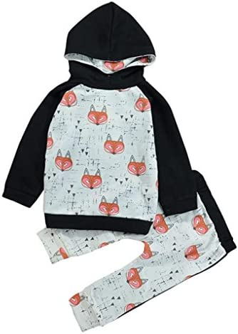 1245cbf90683 Vovotrade Toddler Boy Girl Baby Adorable Fox Printing Sweater Hoodies Tops  Pants Set Clothing