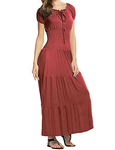 (Meaneor Women's Cap Sleeve Smocked Waist Peasant Renaissance Summer Maxi Dress Brown L)
