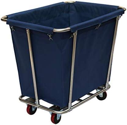 折りたたみビーチワゴン 収穫台車・キャリー ユーティリティカート 洗濯物入れの選別機のカート、 ハウスキーピングトロリーローリングサイレントホイール、 ホテルルームヘビーデューティサービングカート、L90xW65xH80CM (Color : Blue)
