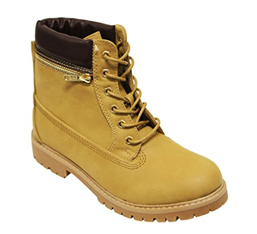 Anna Denver-10 Womens round toe ankle high lace up zip decor opening military combat comfort nubuck boots Camel TyNmDP91BO