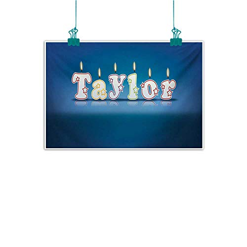 Mdxizc Frameless Decorative Painting Taylor Common Given Name in English Happy Occasion Candles Font Design on Blue Home and Everything W28 xL20 Blue and Multicolor