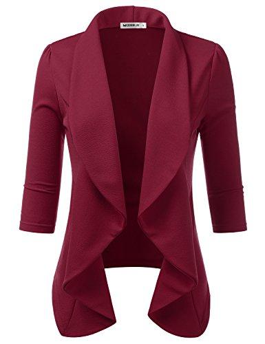 Doublju Womens 3/4 Sleeve Work Office Blazer Jacket Open Front Cardigan with Plus Size Ruby - Blazer Red Ruby