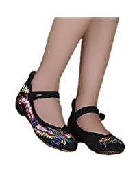 ZYZF Women Chinese Phoenix Embroidered Oxfords Rubber Sole Mary Jane Flat Shoes