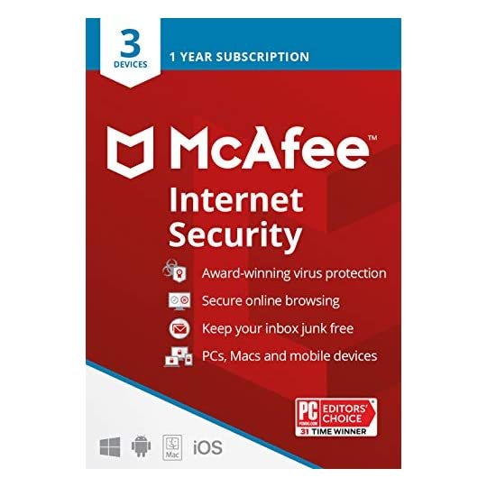 McAfee Internet Security 2021, 3 Device, Antivirus Software, 3 Device Password Protection, 1 Year – Key Card