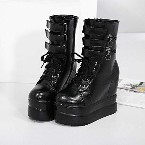 LBTSQ Suela Zapatos de Mujer/Altura Interior Suela LBTSQ Gruesa Altura del Tacon 12 Cm Botas Magia Pegatinas Ocio Barril Martin Botas Botas De Algodón Marea Treinta Y Cuatro Negro 399750