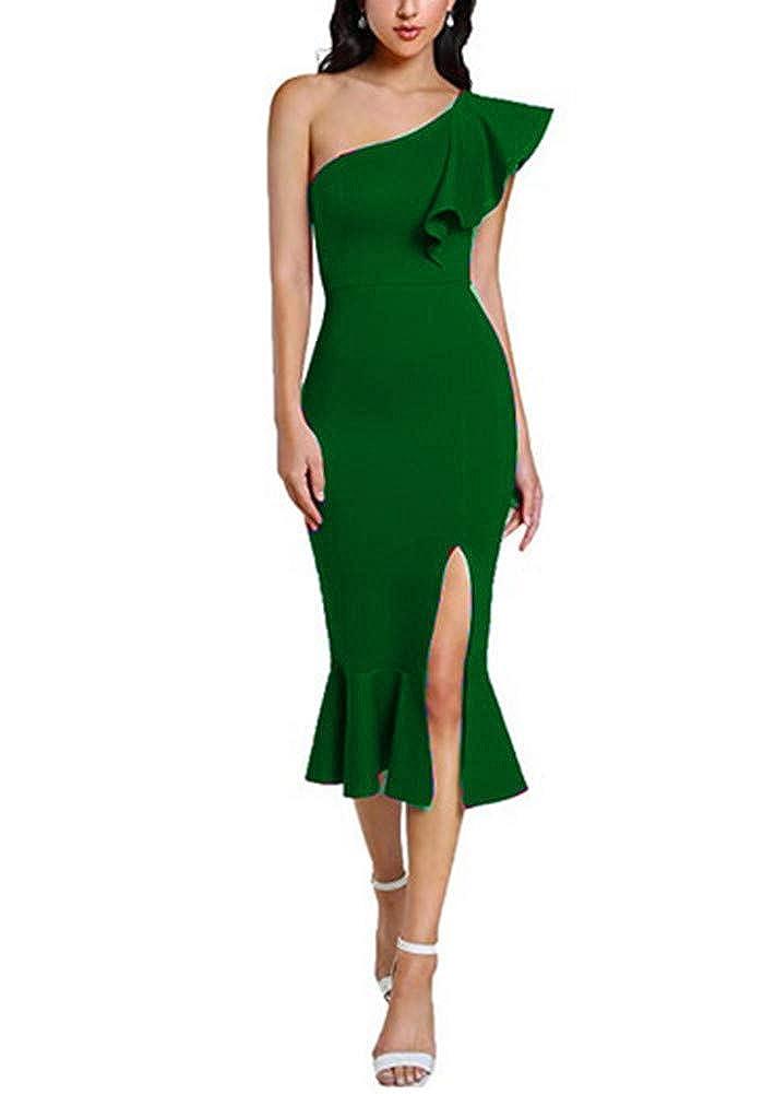 Green Aiyue Yishen Women's One Shoulder Ruffle Cocktail Dress Split Midi Party Dress