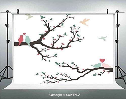 - Photography Background Retro Love Birds on The Tree Branch Serenade Nostalgic Partners Ceremony Decorative 3D Backdrops for Photography Backdrop Photo Background Studio Prop