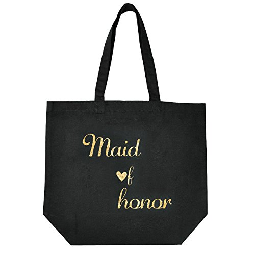 Wedding Maid Of Honor - ElegantPark Maid of Honor Tote Wedding Gifts Bridal Shower Bag 100% Cotton Black with Gold Glitter