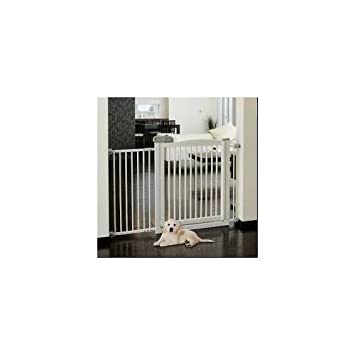 Dog Gate With Door Safety Easy Open One Touch Baby Cat Extra Wide Stairs  Cat Indoor