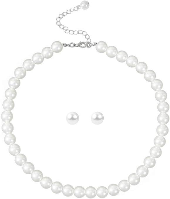 Faux Pearl Necklace Bracelet Set Wedding Mid Century Set Multi Stranded Pearl Set Gold Plated Unique OOAK Great Gift Idea Choker Set