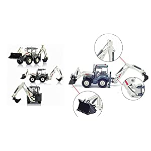 Lcyyo@ KAIDIWEI 1:50 High Simulation Alloy Excavator Two-way Forklift Bulldozer Back Hoe Loader Shovel Diecast Model Gift Toys for Kids (White)