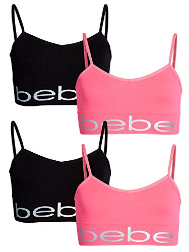 Bebe Bra - bebe Girls\' Nylon/Spandex Seamless Reversible Crop Top Training Bra (4 Pack), Black/Pink, Size Large'