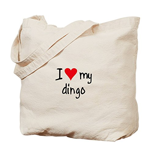 Cafepress – i Love My Dingo – Borsa di tela naturale, tessuto in iuta