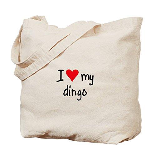Cafepress–i Love My Dingo–Borsa di tela naturale, tessuto in iuta