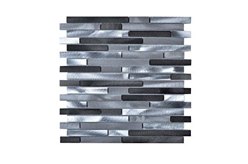 Legion Furniture MS-ALUMINUM21 Mosaic With Mix Aluminum Wall Tile, Gray/Silver