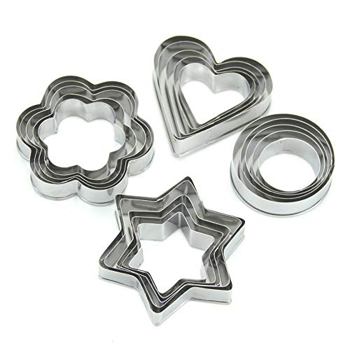 1 Set 20pcs/set Stainless Steel Cookie Cutters Flower Star Heart Ring Shaped Biscuit Mold Fondant Cutter Cookies Decorating Tools