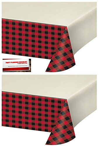 2 Pack - Buffalo Plaid Red Lumberjack Plastic Table Cover 54 x 102 Inches (Plus Party Planning Checklist by Mikes Super (Plaid Desk)