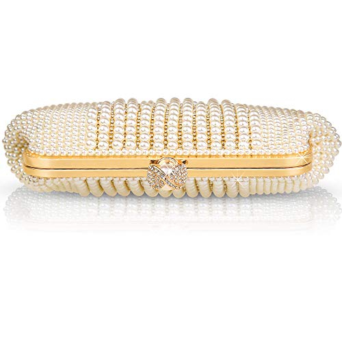 Veyiina Nero Women's Clutches Pearl Handbag Silver Evening Bag Purse for Party, Bridal, Casual, Wedding